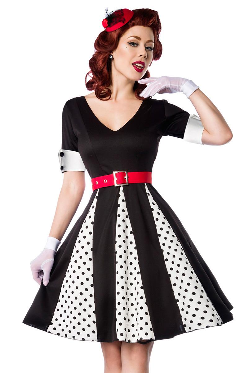 0d1aa8ba796 Godet Retro Kleid Vintage Rockabilly Kleid 50er Jahre Stil mit ...
